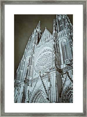 St Vitus Cathedral Rose Window At Night Framed Print by Joan Carroll