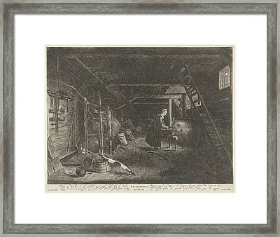 Stable With Cows The Autumn Season, Print Maker Pieter Nolpe Framed Print by Pieter Nolpe And Pieter Symonsz. Potter And Frederik De Wit