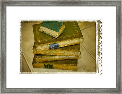 Stack Of Antique Books Framed Print by Don Hammond