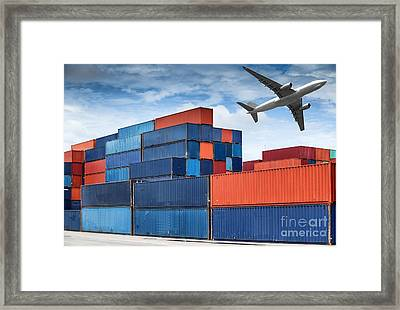 Stack Of Cargo Containers  Framed Print