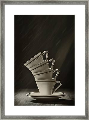 Stack Of Cups Framed Print by Amanda Elwell
