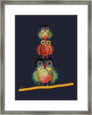 Stack Of Owls Framed Print