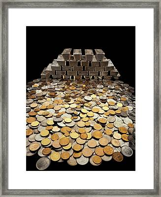 Stack Of Sliver Ingots And Pile Of Coins Framed Print