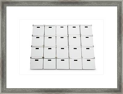 Stack Of Storage Boxes Framed Print