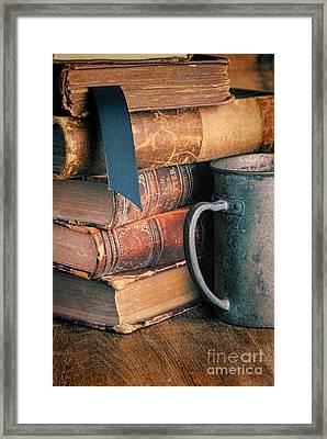 Stack Of Vintage Books Framed Print by Jill Battaglia