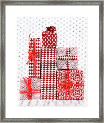 Stack Of Wapped Gifts Framed Print by Muriel De Seze