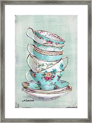 Stacked Aqua Themed Tea Cups Framed Print by Gail McCormack