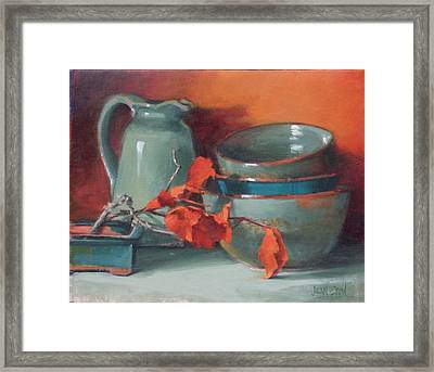 Stacked Bowls #4 Framed Print by Jean Crow