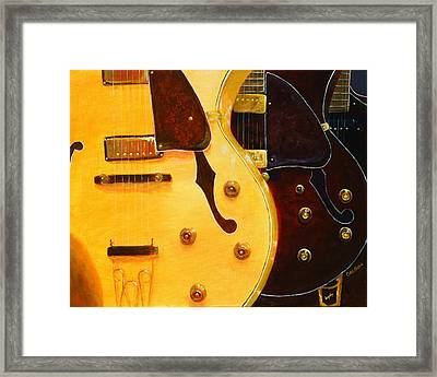 Framed Print featuring the painting Stacked Guitars by Chris Fraser