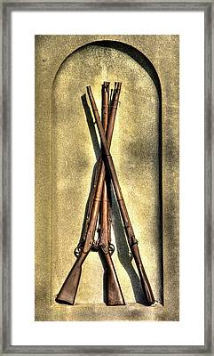Stacked Musketry No. 1a - Monument To The 151st Pennsylvania Volunteer Infantry At Gettysburg Framed Print by Michael Mazaika