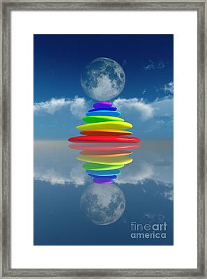 Stacked Rainbow Colored Stones Framed Print by Aleksey Tugolukov
