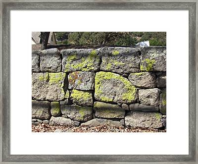 Stacked Stone Wall Framed Print by Bonnie Muir