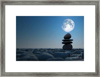 Stacked Stones In Moonlight Framed Print by Aleksey Tugolukov