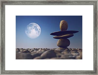 Stacked Stones In Sunlight Witt Moon Framed Print by Aleksey Tugolukov