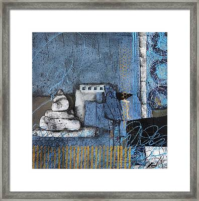 Stacking Rock Blue Yellow I Framed Print by Laura  Lein-Svencner