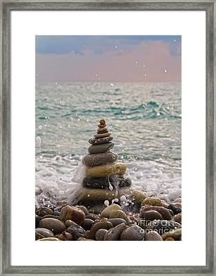 Stacking Stones Framed Print by Stelios Kleanthous