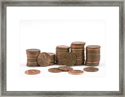 Stacks Of American Pennies White Background Framed Print