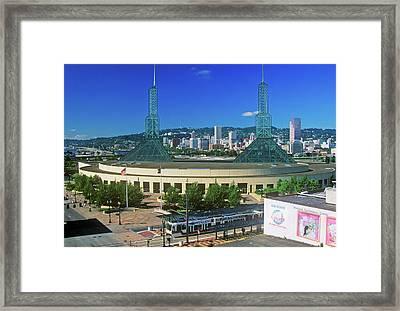 Stadium In Skyline Of Portland, Or Framed Print