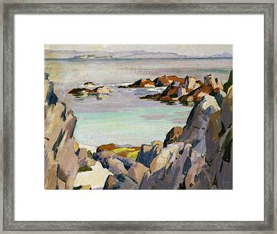Staffa And Rhum From Iona Framed Print by Francis Campbell Boileau Cadell