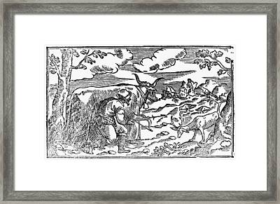 Stag Hunting, 1582 Framed Print