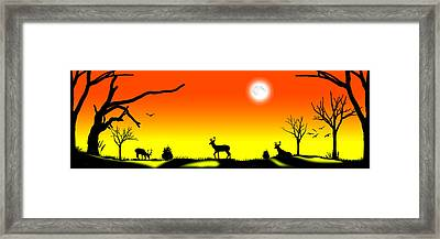 Stag Night Framed Print by Peter Stevenson