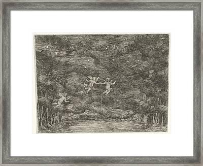 Stage Decoration With Angels In The Night Sky Framed Print by Jan Van Ossenbeeck