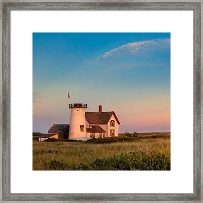 Stage Harbor Lighthouse Square Framed Print
