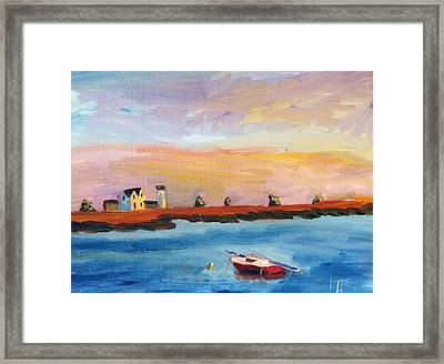 Stage Harbor Sunset Framed Print