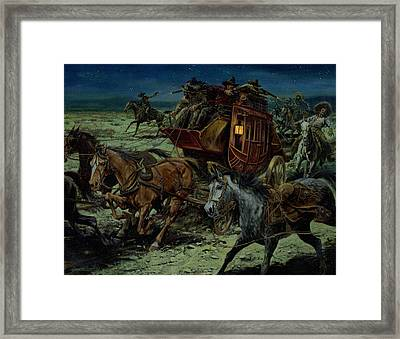 Stagecoach Attack Framed Print by Don  Langeneckert