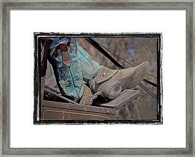 Stagecoach Cowboy's Boots Framed Print