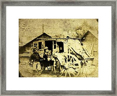 Stagecoach Tintype Framed Print by Larry Lamb
