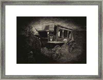 Stagecoach West Antique Textured Framed Print by Thomas Woolworth