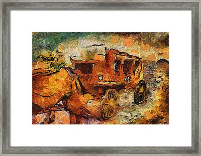 Stagecoach West Hot Day On The Trail Framed Print by Thomas Woolworth