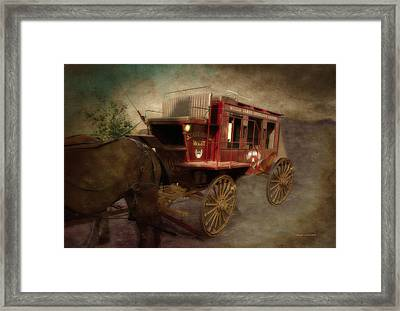 Stagecoach West Sepia Textured Framed Print by Thomas Woolworth