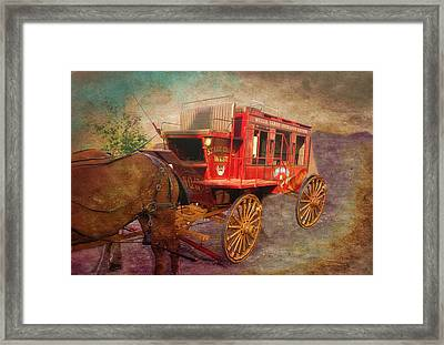Stagecoach West Textured Framed Print by Thomas Woolworth