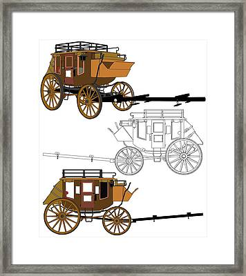 Stagecoach Without Horses - Color Sketch Drawing Framed Print by Nenad Cerovic