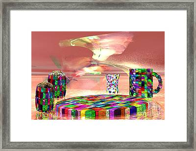 Framed Print featuring the digital art Stained Dinnerware by Jacqueline Lloyd