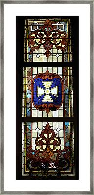 Stained Glass 3 Panel Vertical Composite 01 Framed Print by Thomas Woolworth
