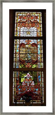 Stained Glass 3 Panel Vertical Composite 02 Framed Print by Thomas Woolworth
