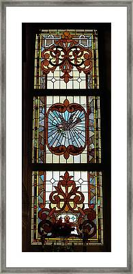 Stained Glass 3 Panel Vertical Composite 03 Framed Print by Thomas Woolworth
