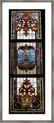 Stained Glass 3 Panel Vertical Composite 04 Framed Print by Thomas Woolworth