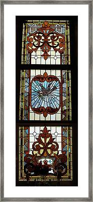 Stained Glass 3 Panel Vertical Composite 05 Framed Print by Thomas Woolworth