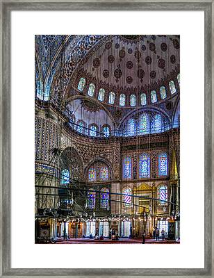 Stained Glass And Dome Of The Sultanahmet Mosque Framed Print