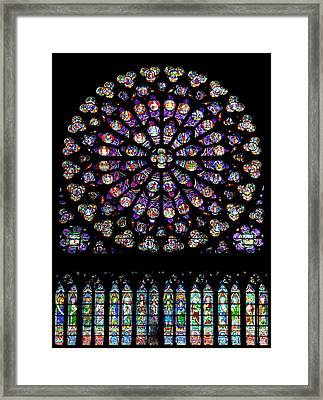 Stained Glass At Notre Dame Framed Print