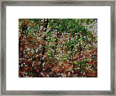 Stained Glass Autumn Colors In The Forest 1 Framed Print by Lanjee Chee