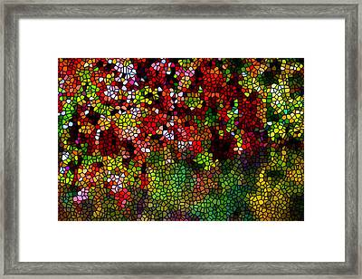 Stained Glass Autumn Leaves Reflecting In Water Framed Print by Lanjee Chee