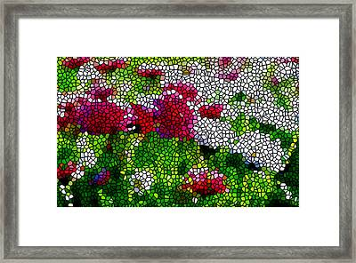 Stained Glass Chrysanthemum Flowers Framed Print by Lanjee Chee