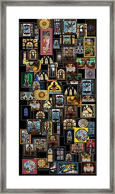 Stained Glass Collage Framed Print by Thomas Woolworth