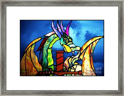 Stained Glass Dragon Framed Print