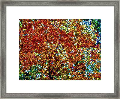 Stained Glass Fall Orange Maple Tree Framed Print by Lanjee Chee